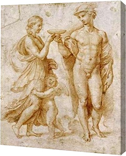 """Mercury Offering The Cup of Immortality To Psyche by Raphael - 13"""" x 16"""" Gallery Wrapped Giclee Canvas Art Print - Ready to Hang"""