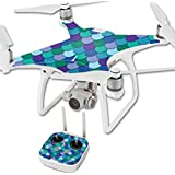 MightySkins Protective Vinyl Skin Decal for DJI Phantom 4 Quadcopter Drone wrap cover sticker skins Blue Scales