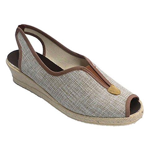 Ouvrir chaussure de femme avec bande de caoutchouc derrière empeigne Ludiher en bronzage