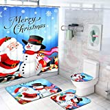 Claswcalor 4 Pcs Merry Christmas Shower Curtain Sets with Non-Slip Rugs, Toilet Lid Cover, Bath Mat and 12 Hooks Santa Snowman Snowflake Reindeer Shower Curtain for Christmas Decoration