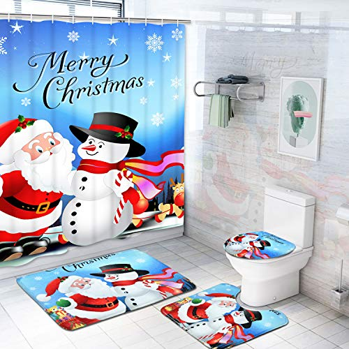 Claswcalor 4 Pcs Merry Christmas Shower Curtain Sets with Non-Slip Rugs, Toilet Lid Cover, Bath Mat and 12 Hooks Santa Snowman Snowflake Reindeer Shower Curtain for Christmas Decoration (Santa Bathroom Accessories)