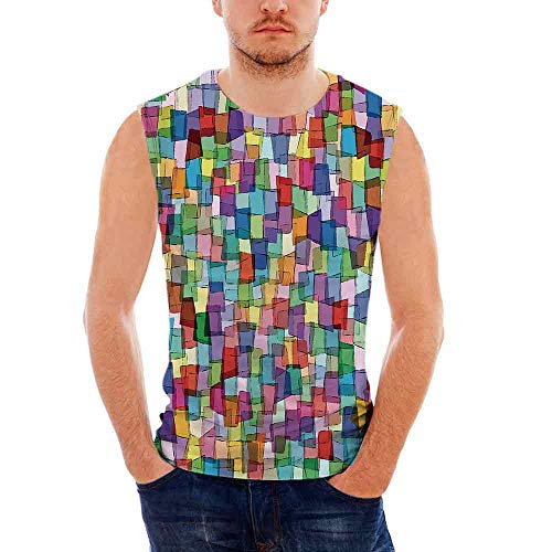 iPrint Mens Sleeveless Abstract T- Shirt,Mosaic Inspired Tile Pattern with Colorful Squ