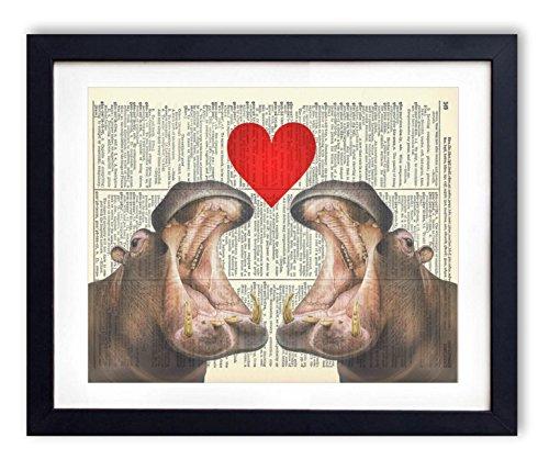 Love Hippos (Hippo Love Upcycled Vintage Dictionary Art Print 8x10)