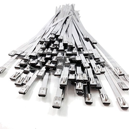 Price comparison product image 5,  4.6mm x 200mm STAINLESS STEEL METAL CABLE TIES TIE ZIP WRAP EXHAUST HEAT STRAPS INDUCTION PIPE by Falcon Workshop Supplies