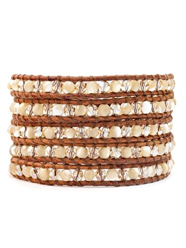 Chan Luu Mother of Pearl and Crystal Bead Wrap Bracelet on Brown Leather by Chan Luu