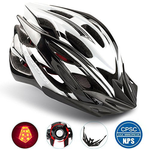 Basecamp Specialized Bike Helmet with Safety Light,Adjustable Sport Cycling Helmet Bicycle Helmets for Road & Mountain Motorcycle for Men & Women,Youth Safety Protection (Blackwhite-BigLight)