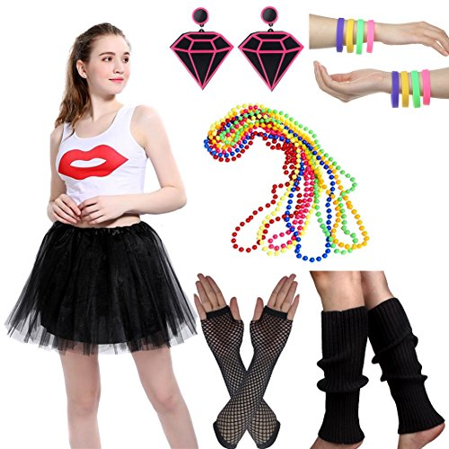 Cyndi Lauper 1980s Costume (Women's 80s Fancy Outfit Costume Accessories Set Adult Tutu Skirt Long Socks Fishnet Gloves Neon Earrings Beads (H))