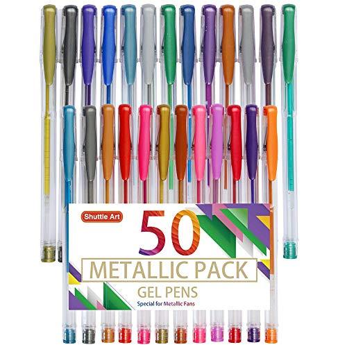 Shuttle Art 50 Pack Metallic Gel Pens, 25 Metallic Gel Pens Set with 25 Refills Perfect for Adult Coloring Books Doodling Drawing Art Markers (Metallic Gel Pen)