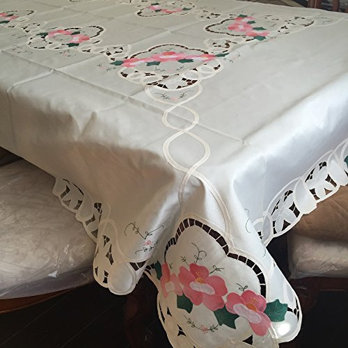 Battenburg Lace with Embroidery Table Clothes / Covers, Table Runner, Placemats or Kitchen Curtains (Beige, 60x84