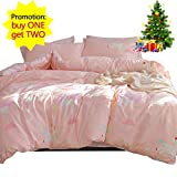 Twin Comforter Sets for Adults Girls Bedding Sets Pink, 3 Piece Cotton Duvet Cover Set for Kids Toddler Adult with Cartoon Unicorn Cloud Print 1 Comforter Cover 2 Pillowcases, Lightweight Striped Child Teen Bed Set Gift, Twin Size