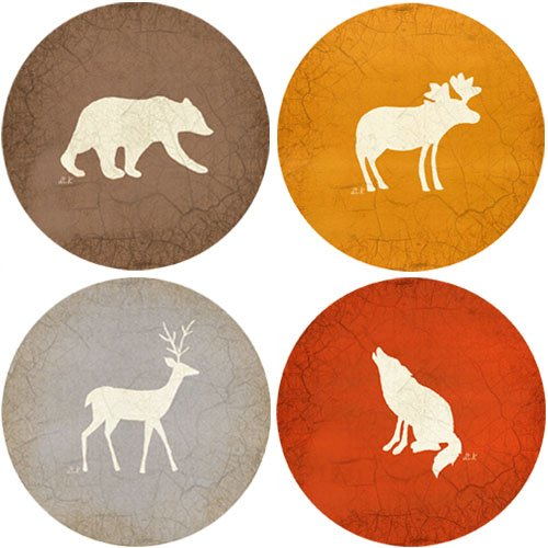 CoasterStone AS9095 Absorbent Coasters, 4-1/4-Inch, Adirondack Bear Moose Deer Wolf, Set of ()