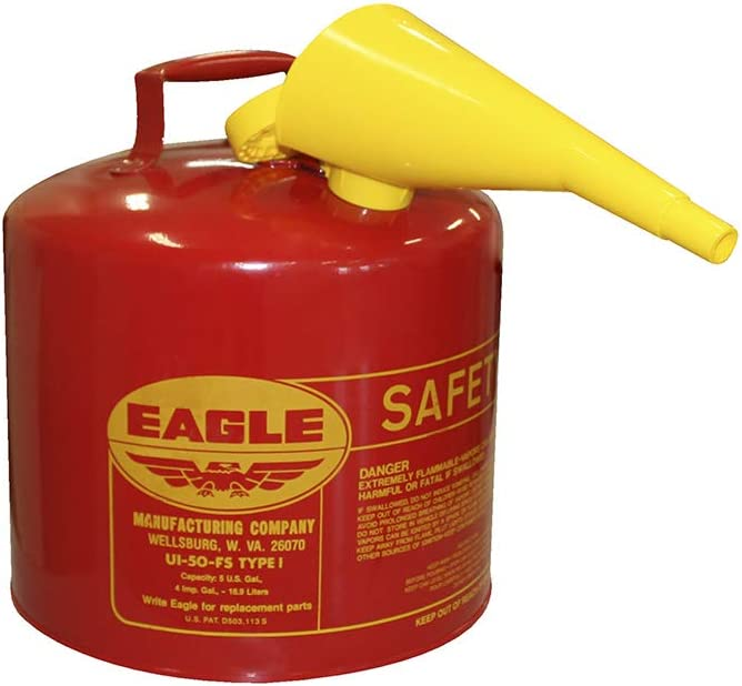 """Eagle UI-50-FS Red Galvanized Steel Type I Gasoline Safety Can with Funnel, 5 gallon Capacity, 13.5"""" Height, 12.5"""" Diameter, Red/Yellow: Hazardous Storage Cans: Industrial & Scientific"""