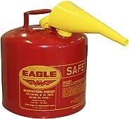 Eagle UI-50-FS lata de seguridad de gasolina de acero galvanizado rojo, tipo I, con embudo, capacidad de 5 galones, altura de 13.5 pulgadas, diámetro de 12.5 pulgadas