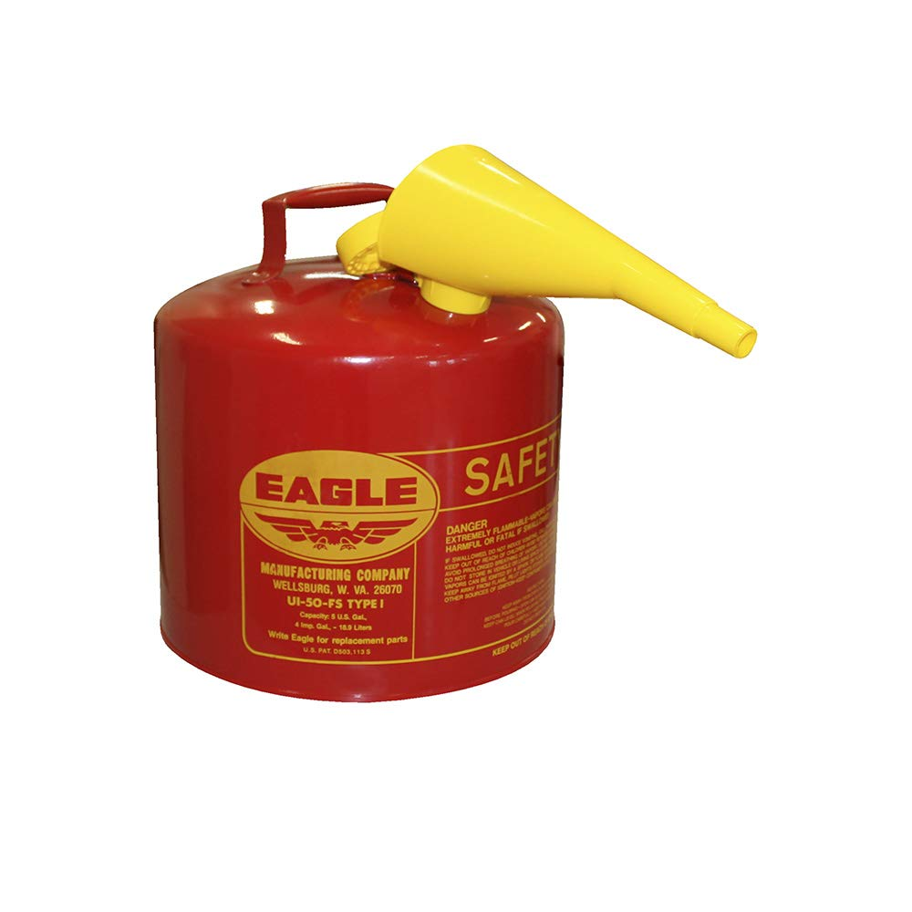 """Eagle UI-50-FS Red Galvanized Steel Type I Gasoline Safety Can with Funnel, 5 gallon Capacity, 13.5"""" Height, 12.5"""" Diameter"""