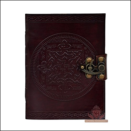 Leather Journal Celtic Knot Embossed Classic Brown Handmade Book of Shadows Notebook Office Diary Personal Organizer Daily Planner College Book Poetry…