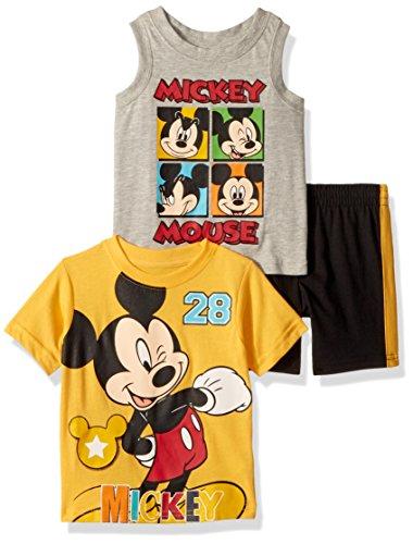 Disney Baby Boys Mickey 3 Piece Short Set, Yellow, 12M