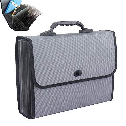 26 Pockets Expanding File Folder Large Capacity Plastic A4 Letter Size Document Organizer Wallet Briefcase Business Filing Box Expanding File Organiser Paper Divider with Handle