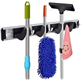 Mop and Broom Holder, RockBirds T45 Aluminium Alloy Material, Storage Solutions for Broom Organizer, Garage Organizer, Garden Tool Storage (4 Position 5 Hooks)