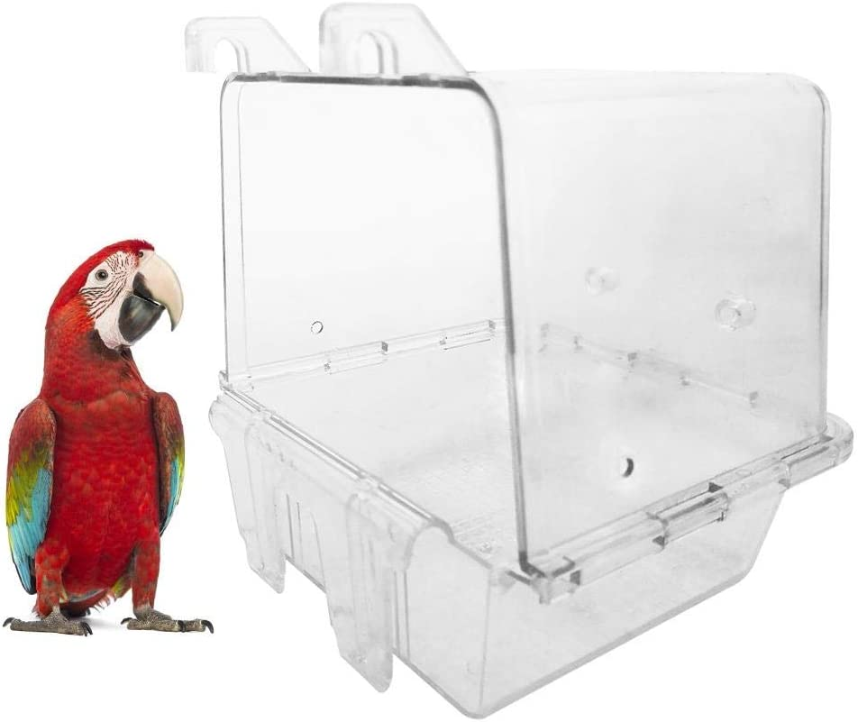 luminiu Parrot Bathtub Cute Pet Bird Bathing Box Accesorios,Casa De Baño para Loros, Bañera para Pájaros Exteriores para Mascotas pequeñas Tina, Medianas, periquitos, cacatúas