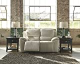 Ashley Valeton U7350074 70'' Leather Match Power Reclining Loveseat with Plush Padded Arms Jumbo Stitching Details and Split Back Cushions in Cream