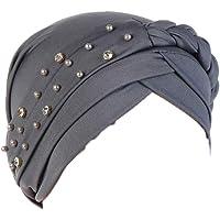 Aisoway Estiramiento Turbante Sombrero Plisado Abrigo De La Cabeza del Capo Indio Sombrero Musulmán De Las Mujeres para…