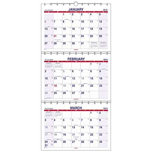 (AT-A-GLANCE 2019 Wall Calendar, 3-Month Display, 12
