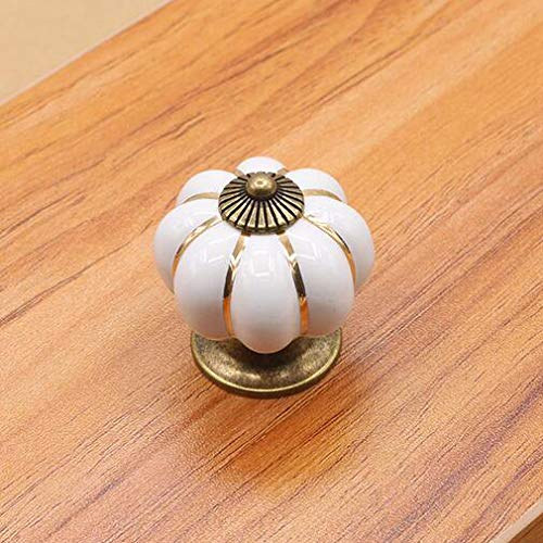 White wotoy 5 Pack Ceramic Alloy Colorful Color Pumpkin Cartoon Pastoral Modern Minimalist Cabinet Handle Drawer Handle