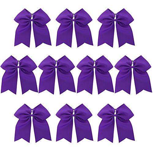 Chiffon Baby Girls Larger Cheer Bows Hair Ties Cheerleading Pony Tail Holder Elastic Head Loop For Infant Teens Kids 10Piece Purple (Cheerleading Hair Ties)