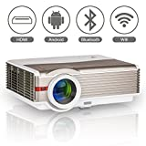 2017 Wireless LED LCD Smart Android Bluetooth Projector with Wifi Airplay HDMI, WXGA 4200 Lumens Multimedia HD 1080P Outdoor Movie Theater Home Video Cinema Projectors, Iphone Smartphone TV Projector