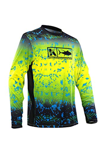 (Koofin Men's Performance Vented Fishing Shirt Long Sleeve Shirt Mesh Side Vents UPF 50 Fade Pattern Yellow)
