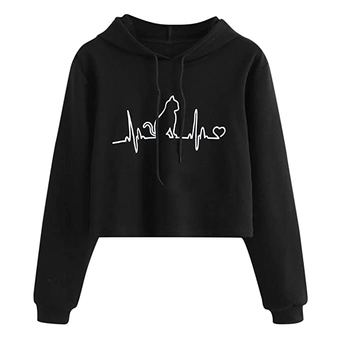 Amazon.com: FimKaul Women Electrocardiogram Cat Print Hoodie Loose Long Sleeve Sweatshirts Sport Pullover Top: Clothing
