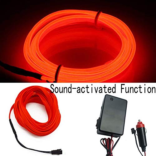 HomDSim Sound-activated Function Auto Car Neon LED Panel Gap String Strip Light, Glowing Wire/El Wire Lamp,Automotive Interior Car Decor Decorative,Cigarette Lighter Plug