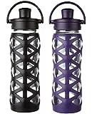 Lifefactory 22 Ounce Flip Cap Glass Beverage Bottles - 2 Pack