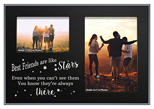 ThisWear Besties Gifts Best Friends Like Stars Graduation Gift Black Wood 2-Photo Plaque Picture Frame Black