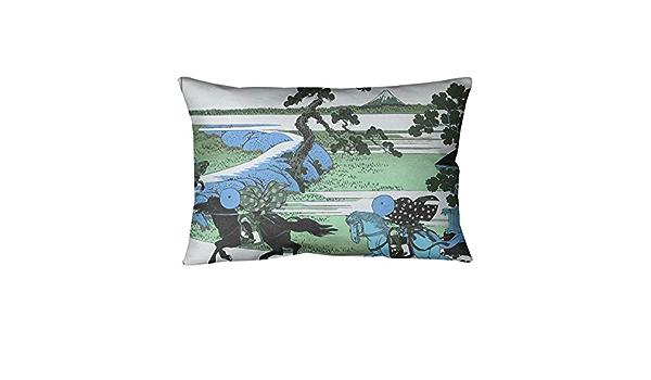 Amazon Com Artverse Katsushika Hokusai Sekiya Village At Sumida River In Green And Blue Pillow W Removable Insert Faux Suede 20 X 14 Home Kitchen