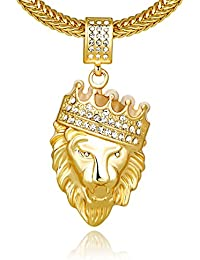 Cuccu Men 18k Real Gold Plated Crown Lion King Pendant...