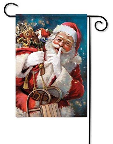 "Santa Shhh Christmas Garden Flag Sled St. Nick Toys Sack Holiday 13"" x 18"""