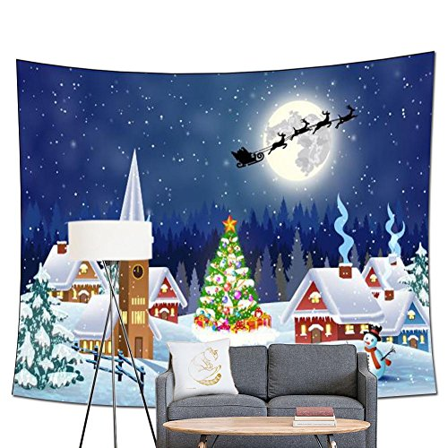Winter Room Wonderland Roll (POPPAP Christmas Wall Art Print Tapestry, Christmas Village Snowy Outdoor Tree with Decoration Bells Gift Print Winter Forest Picture Print Party Wall Background (79