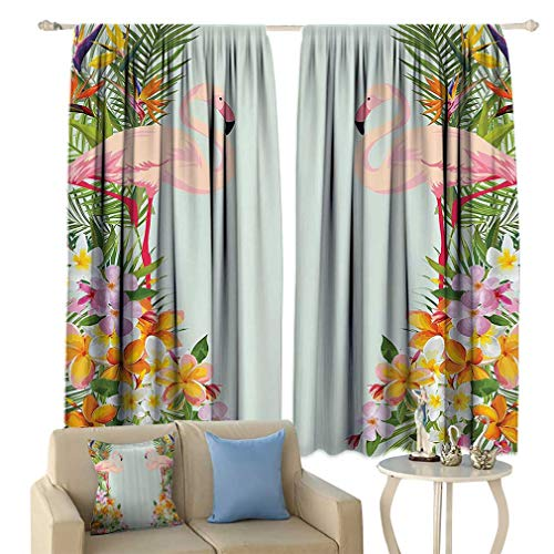 Floral Decor Blackout Curtains, Flamingos Tropical Flowers and Flamingos Decorations for Home Print Window Treatments for Living Room 2 Panels Set, 55'' W x 45'' L Baby Blue and Orange 45' Tropical Home Decor