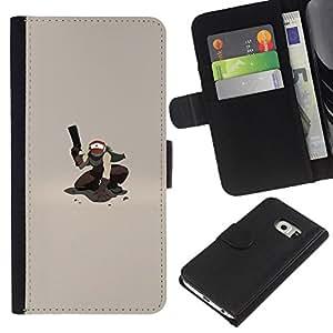 LECELL--Cuero de la tarjeta la carpeta del tirón Smartphone Slots Protección Holder For Samsung Galaxy S6 EDGE -- P0kemon Guerrero --