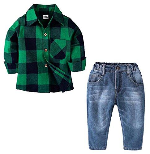 Kids Boys Autumn Casual Long Sleeve Plaid Shirt Denim Jeans