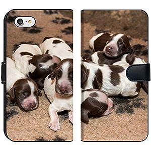 Luxlady iPhone 7 Flip Fabric Wallet Case Image ID: 34468614 English Cocker Spaniel Puppy Sleeping on a Bed 1