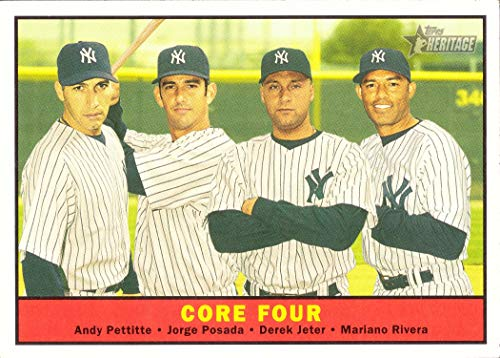 2010 Topps Heritage #411 Yankees Core Four Baseball Card - Andy Pettitte, Jorge Posada, Derek Jeter, and Mariano Rivera - Short Print