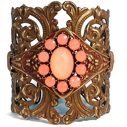 Fancy Filigree Apricot Orange Chocolate Brass Cuff Statement Bracelet, Prom Jewelry, Unique