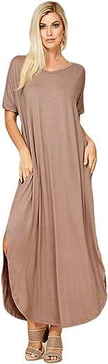 Women's Long Split Maxi Dress Casual Loose V Neck Short Sleeve Beach Pockets