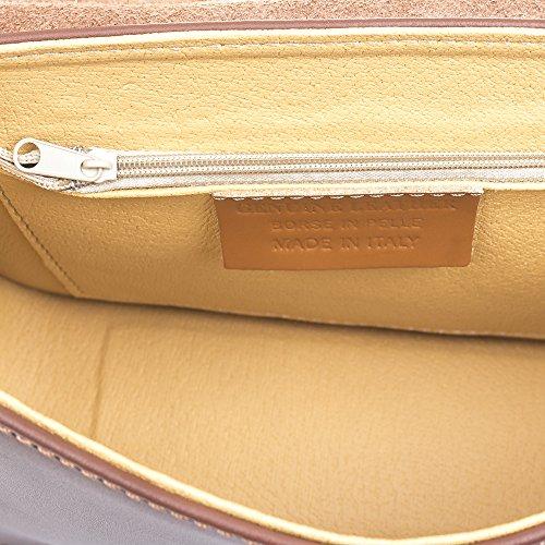 FIRENZE ARTEGIANI.Bolso de mujer piel auténtica.Bolso cuero genuino, cierre por hebilla y solapa acabado Ruga. MADE IN ITALY. VERA PELLE ITALIANA. 25x17x7,5 cm. Color: MARRON