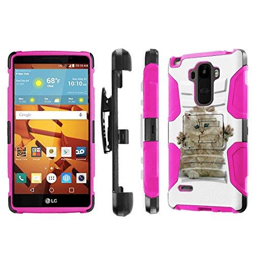 LG G Stylo [LS770 H631] Armor Case [NakedShield] [Black/Pink] Heavy Duty Armor [Holster with Kickstand] Phone Case - [Funny Cat] for LG G Stylo LS770 -  NakedShield for LG G Stylo, P-LGLS770-1E7-BKHP-CBT-N459