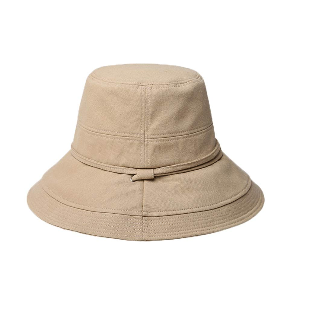 Beige ZHANGHAIMING UPF + 50 Fisherman's Hat, Female Summer Eaves Cotton Sun Hat Wild Foldable Visor, color (Beige Black Brick Red) (color   Black)