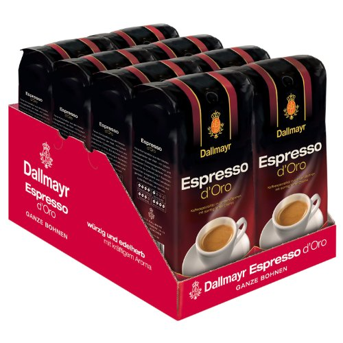 Dallmayr Espresso d Oro Coffee, Whole Beans, Pack of 8, 8 x 1000g by Yulo Toys Inc