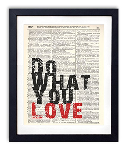 Do What You Love Typography Upcycled Vintage Dictionary Art Print 8x10